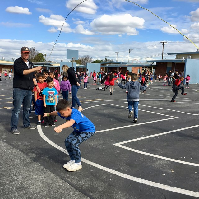 Students  jump rope with their friends and staff. What a great way to exercise, have fun, and raise money for the American Heart Association!