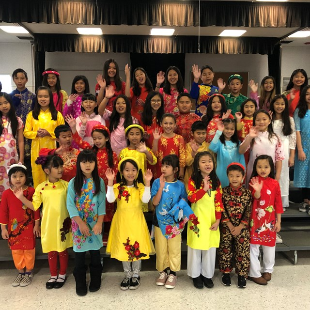 Marshall Students wearing their traditional ao dai