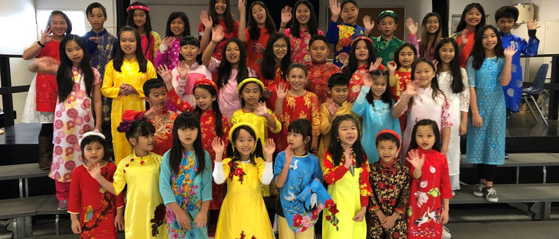 Marshall students celebrated Vietnamese New Year by wearing the traditional ao dai